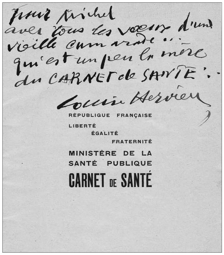 Le premier carnet de santé avec annotation de Louise Hervieu
