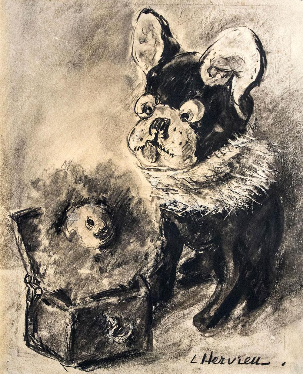 Bouledogue et Diable en boîte par Louise Hervieu