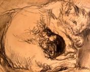 Chatte et chatons par Louise Hervieu