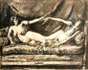 Femme nue assise sur un canapé par Louise Hervieu