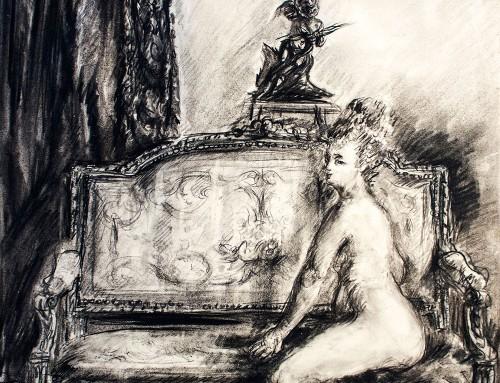 Femme nue assise sur un canapé