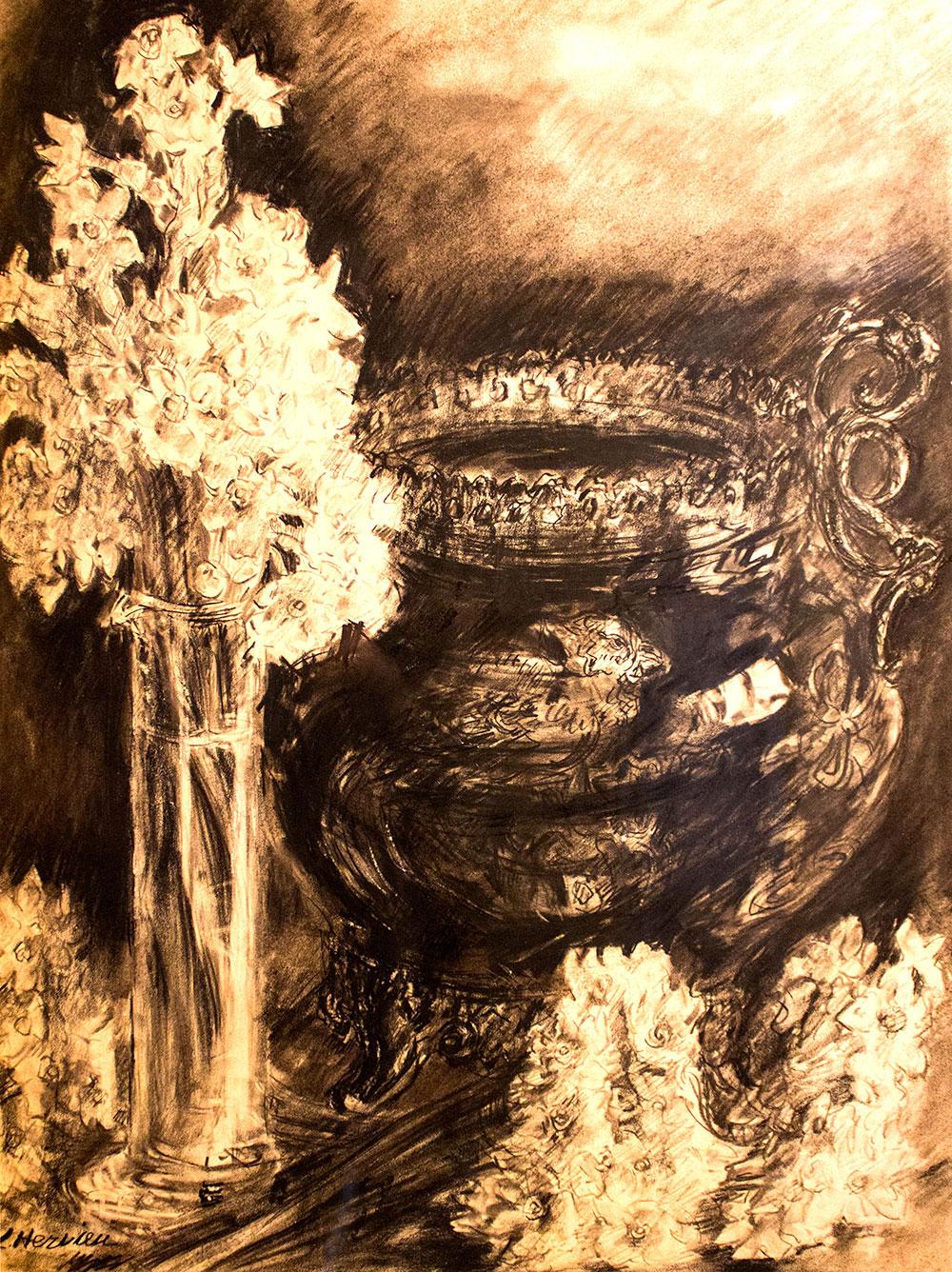 Fleurs dans un vase et coupe par Louise Hervieu
