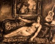 Nue au Watteau et à la guitare par Louise Hervieu