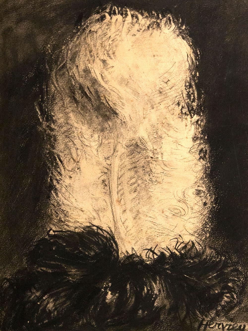 Plume blanche et noire par Louise Hervieu