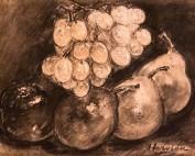 Pomme poires et grappe de raisins par Louise Hervieu