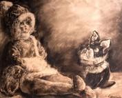 Poupée et bouledogue par Louise Hervieu